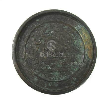 A circular bronze mirror Edo Period