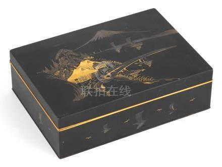 An inlaid iron rectangular box and cover  Meiji era, late 19th/early 20th century