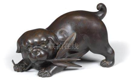 A bronze okimono of a plump puppy  By Nakahara Tsunenobu, Meiji era, late 19th/early 20th century  (2)