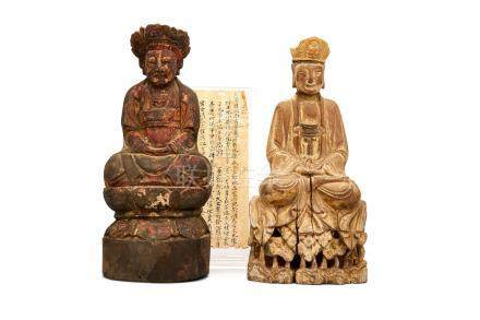 Two carved wooden figures of Guanyin 19th century (2)