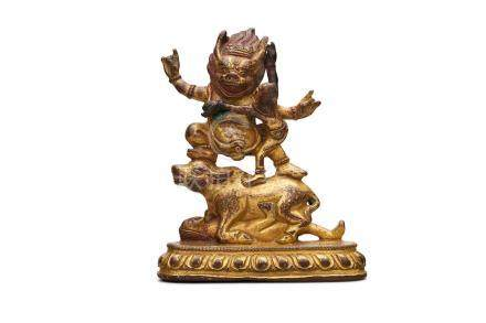 A Tibetan gold lacquered bronze figure group of Yama Dharmaraja and consort 18th/19th century