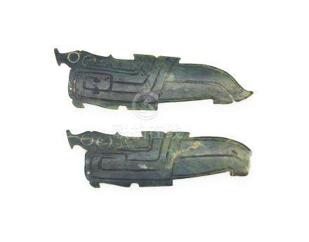 A pair of archaistic spinach jade carvings (2)