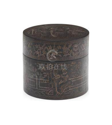 A Dege wrought iron circular covered box with silver inlay Qianlong six-character seal mark to the base, Qing dynasty