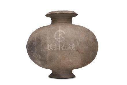 A stoneware cocoon jar Han dynasty