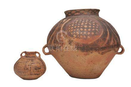 Two neolithic stoneware jars Majiayao culture, mid 3rd millennium BCE (2)