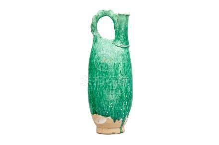 A green glazed stoneware cockscomb flask Liao dynasty
