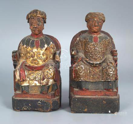 PAIR OF EARLY CHINESE CARVED POLYCHROME GROUP