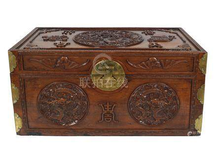 CHINESE QING PERIOD BRASS BOUND HUANGHUALI TRUNK