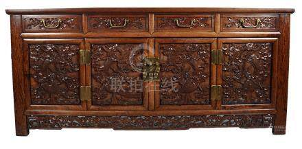 CHINESE QING PERIOD BRASS BOUND HUANGHUALI CABINET