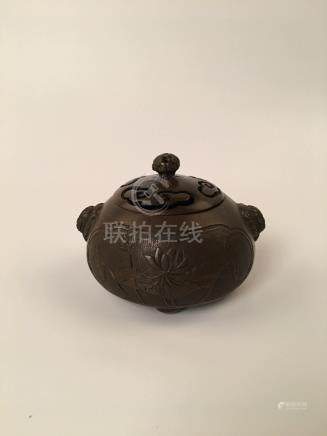 Chinese Brozen Incense Burner With Lid