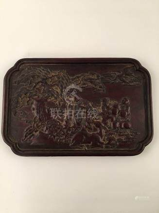 Chinese RedWood Tray With Carving