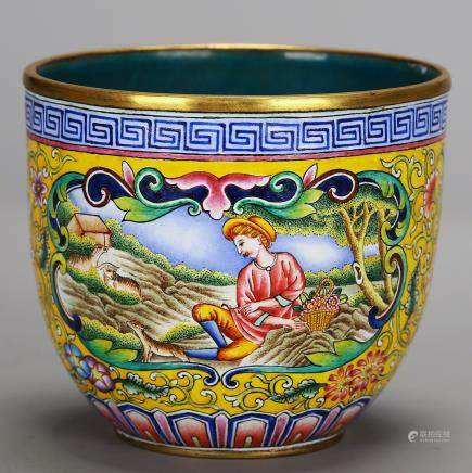 CHINESE BRONZE ENAMELED CUP