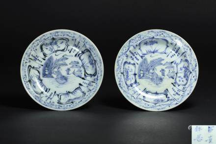 CHINESE BLUE WHITE PORCELAIN PLATE, PAIR