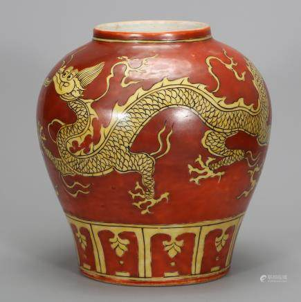 CHINESE RED AND YELLOW GROUND DRAGON JAR