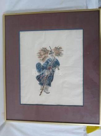 CHINE Peinture sur papier, figurant un personnage. 29 x 23 cm Encadrée sous verre. 42 x 38 c