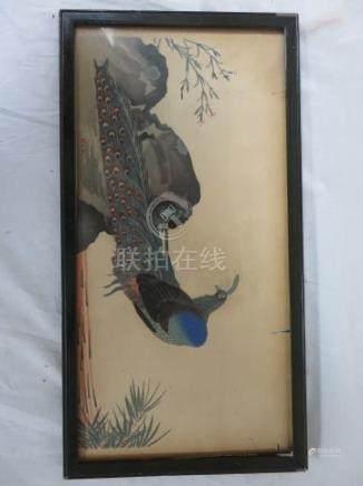 CHINE Impression sur papier, figurant un paon. 19 x 38 cm Encadrée sous verre.