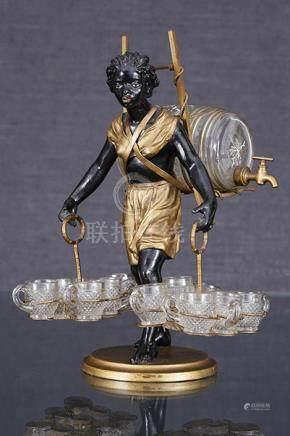 Nubienne portefaix  Sculpture formant nécessaire à liqueur en régule patiné noir et doré fig