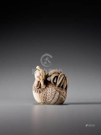 A FINE AND UNUSUAL IVORY NETSUKE OF A COCKEREL SIGNED M…