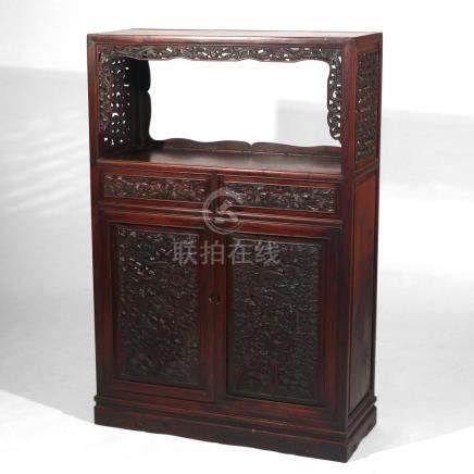 FINELY-CARVED CHINESE HARDWOOD CABINET