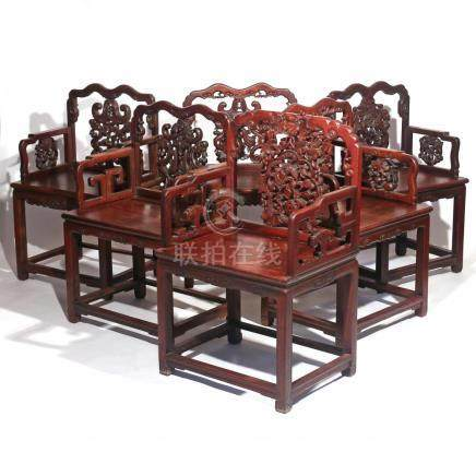 (6pc) CHINESE EXPORT CARVED ROSEWOOD ARMCHAIRS