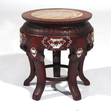 CHINESE EXPORT CARVED & INLAID STOOL
