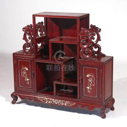 CHINESE EXPORT CARVED DISPLAY CABINET