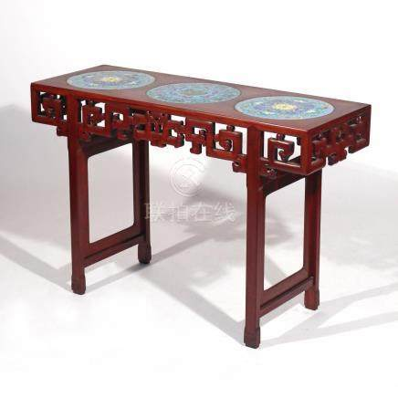 CHINESE CLOISONNE-INSET SIDE TABLE