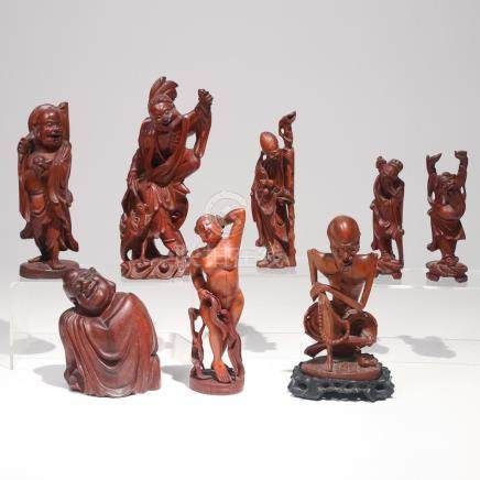 (8pc) CHINESE FIGURAL BOXWOOD CARVINGS