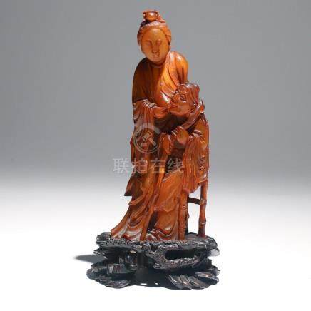 CHINESE CARVED HORN FIGURAL GROUP