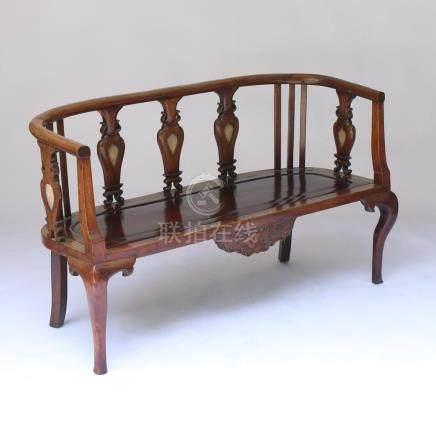 CHINESE EXPORT CARVED SETTEE