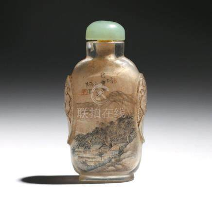 ANTIQUE CHINESE INTERNALLY-PAINTED SNUFF BOTTLE