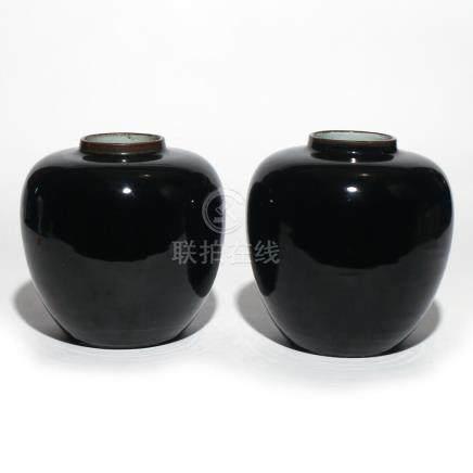 PAIR CHINESE 'MIRROR-BLACK' GLAZED JARS