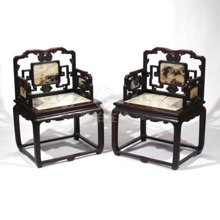 PAIR CHINESE EXPORT ROSEWOOD ARMCHAIRS