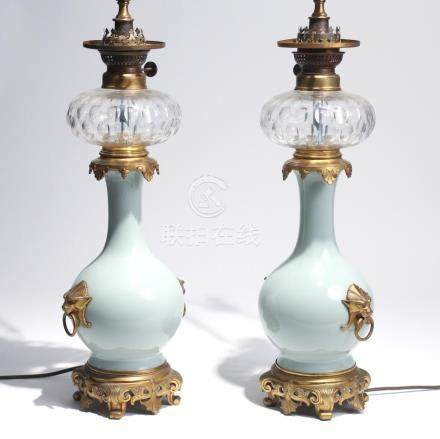 PAIR VICTORIAN CHINESE CELADON FLUID LAMPS