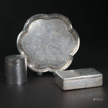 (3pc) INDIAN SILVER TABLE ITEMS