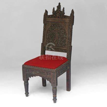 ANGLO-INDIAN CARVED SIDE CHAIR