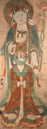 CHINESE SCROLL PAINTING OF A BODHISATTVA