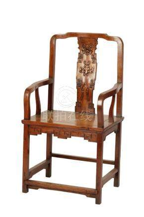 RARE SQUARE SECTION HUANGHUALI ARMCHAIR, QING DYNASTY, 18TH CENTURY