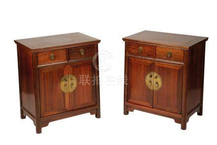 PAIR OF GOOD 'ZITAN' LOW CABINETS, QING DYNASTY, 19TH CENTURY