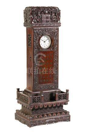 IMPRESSIVE CARVED HONGMU WATCH CASE, QING DYNASTY, 19TH CENTURY