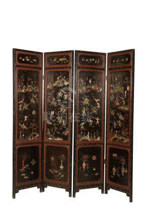 EXPORT LACQUER AND HARDSTONE FOUR FOLD SCREEN, QING DYNASTY, 19TH CENTURY