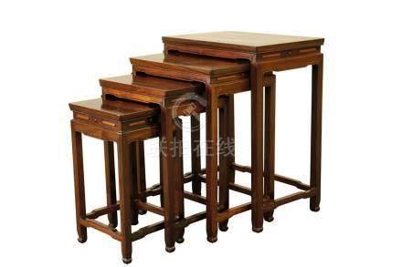SET OF HARDWOOD QUARTETTO TABLES, REPUBLIC PERIOD
