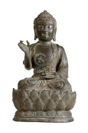 BRONZE SEATED BUDDHA, LATE QING DYNASTY