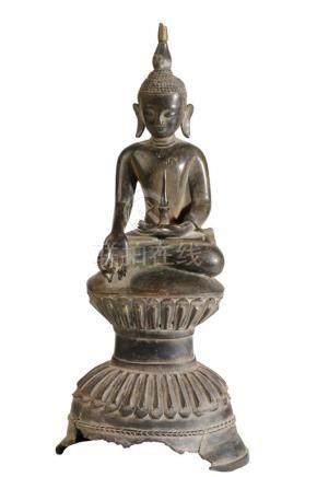 SEATED BRONZE BUDDHA, BURMA, SHAN STATES, 18TH CENTURY