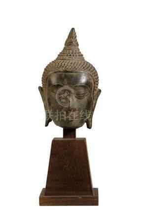 BRONZE BUDDHA HEAD, U-THONG PERIOD, 14TH / 15TH CENTURY