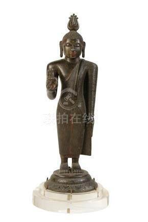 GOOD STANDING BRONZE BUDDHA, SRI-LANKA, KANDY PERIOD, MID 18TH CENTURY