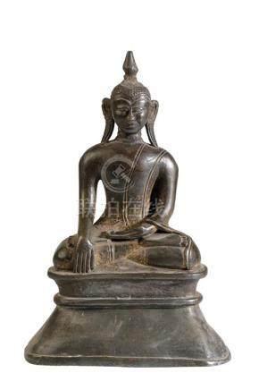BRONZE SEATED BUDDHA, BURMA, SHAN STATES, 18TH CENTURY