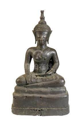 SEATED BRONZE BUDDHA, LAO, 19TH CENTURY