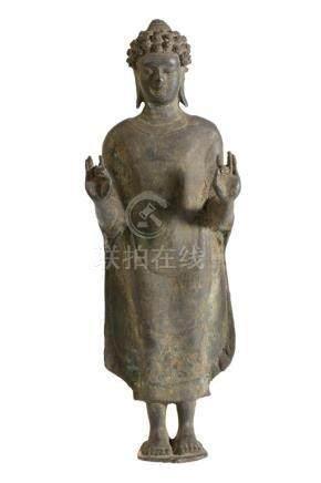 STANDING BRONZE BUDDHA, MON DVARAVATI STYLE, BUT PROBABLY 18TH CENTURY