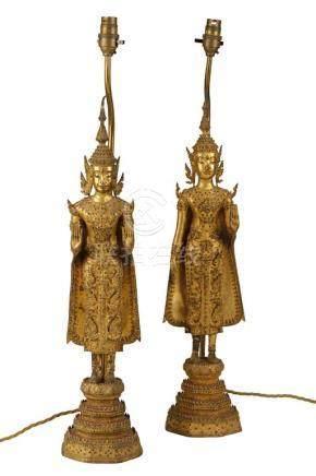 TWO GILT BRONZE BUDDHAS, THAILAND, RATTANAKOSIN PERIOD, 19TH CENTURY